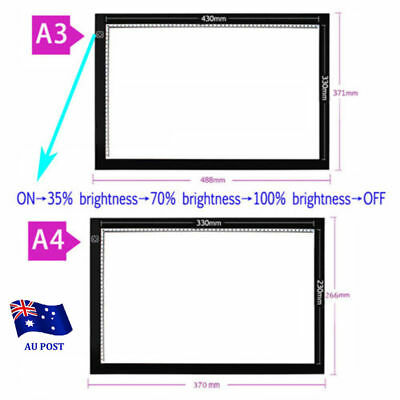 Ultra Thin A3 A4 LED Light Drawing Lightbox Design Stencil Pattern Tracing Pad O