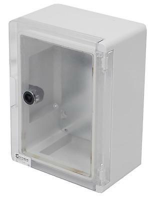 Europa Components Ip65 Abs Enclosure Grey (ral 7035) Clear Door 330x250x130mm