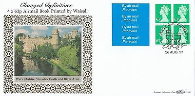 (98727) GB Benham FDC D309 £2.56 Walsall Booklet Pane 63p 26 August 1997