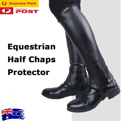Large Horse Riding Chaps Black Half Chaps Black Leather Clothing Equestrian XXL