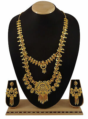 18K Goldplated Traditional Necklace Earring Set Designer Jewelry BNG197A-PAR