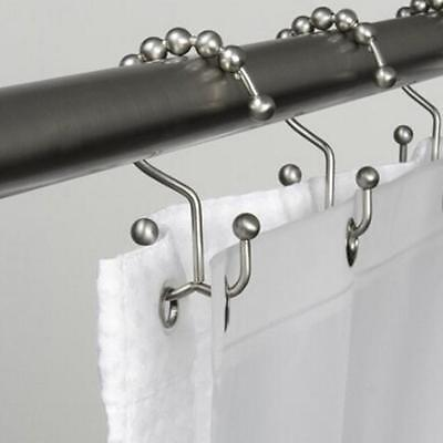 12PCS Metal Double Glide Bathroom Shower Curtain Hook Ring Roller Balls HOT SELL