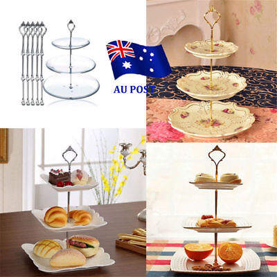 3 Tier Hardware Crown Cake Plate Stand Handle Fitting Wedding Party ON