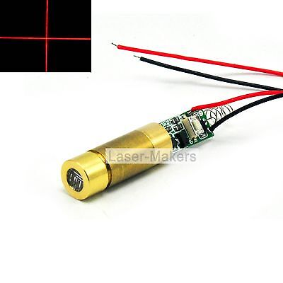 650nm 50mw Red Focus Cross Laser Diode Module 3-4.2V Brass w/ Driver + Wire
