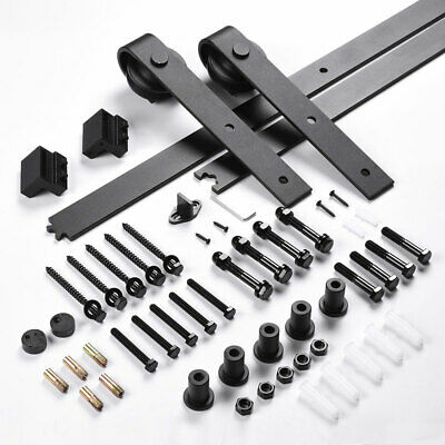 1.83m Sliding Barn Door Hardware Set No Joint Track Rail Interior Closet Black