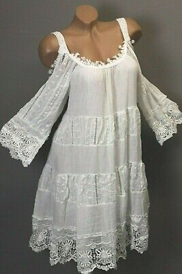 Kleid Long Tunika Sommer Spitze Stickerei Volant Cut-Outs 38 40 42 M L XL Italy
