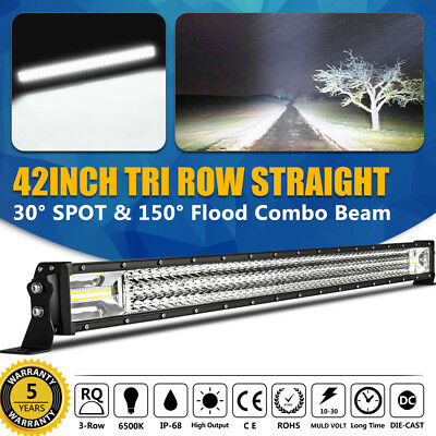"""42INCH 1728W Tri Row Curved LED Work Light Bar Spot COMBO Flood Offroad 44/40"""""""