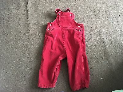 RED NEEDLE CORD DUNGAREES.  12-18 Months