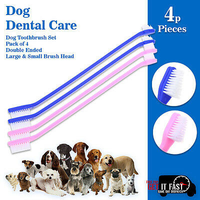 NEW DOG PUPPY ToothBrush for DENTAL CARE Double Ended Large & Small Brush Head