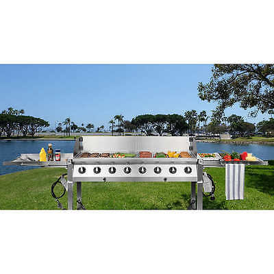 Commercial 8 Burner 304 Stainless Steel Event Catering gas bbq grill plus cover