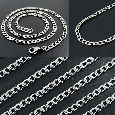 """Stainless Steel 16"""" to 36"""" Long Mens 3mm Wide Mens Curb Chain Womens Necklace cm"""