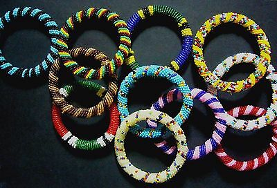New African Ethnic Tribal Stripe Masai Bead Bangle Bracelet Jewellery Craft Gift