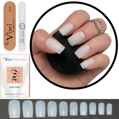 100x SQUARE Short/Medium FALSE/FAKE STICK ON NAILS Natural Opaque FREE GLUE Vixi