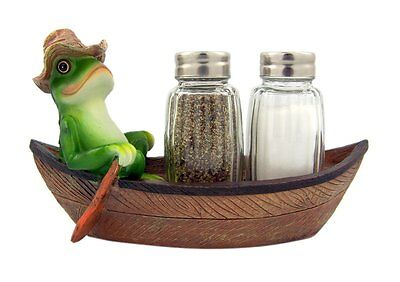 Croak Creek Canoe Resin Frog in Canoe Figurine with Glass Salt and Pepper Shaker