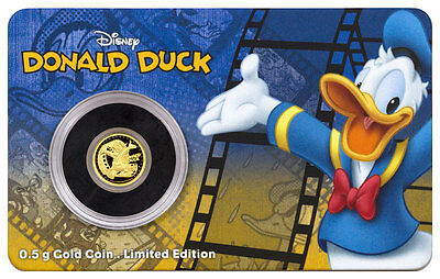 2016 Niue Disney Mickey and Friends Donald Duck 1/2 g Gold Proof $2 OGP SKU45338