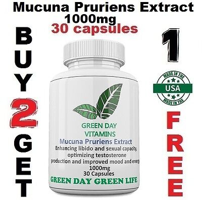 Mucuna Pruriens Extract 1000mg L-Dopa Velvet Bean Made In USA Free shipping