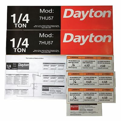 Dayton Jib Crane Label Kit, For Use With 7HU57 - 28CH76