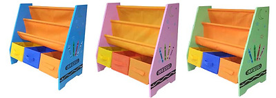 Kiddi Style Wooden Childrens Kids Sling Bookshelf Rack Toy Chests Storage Bins