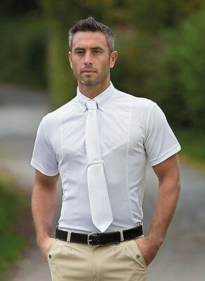 Shires Gents Short Sleeve Tie Shirt White X-Small