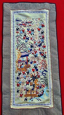 "BEAUTIFUL VINTAGE ORIENTAL SILK EMBROIDERED SCENE ~ 13"" x 25"""