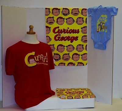 Curious George Men's T-Shirt S:Lrg,Messy George Onesie,Faces Wash/Hand Set Lot 4