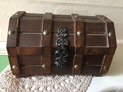 Vintage Studded Wooden Trinket Box Early 20th Century