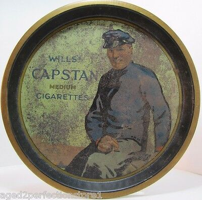 Antique WILLS CAPSTAN Medium CIGARETTES Advertising Tray tin litho serving bar