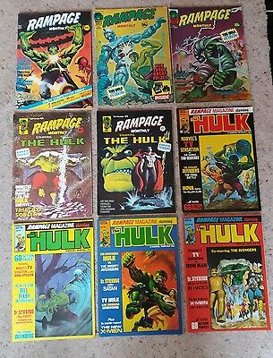 MARVEL SUPERHEROES COMICS UK-RAMPAGE STARRING THE HULK 9 ISSUES-#1 to #9