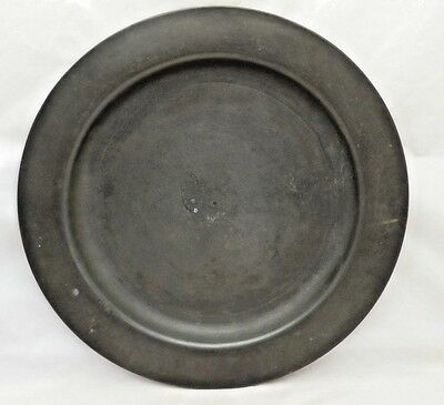 """Antique Large English 12"""" Pewter Dished Plate Charger London Touch marks"""
