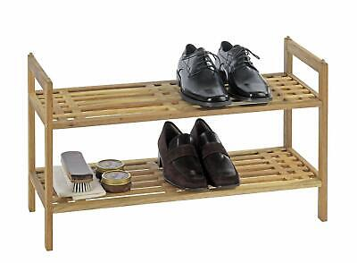 2 Tier Natural Bamboo Wooden Bench Shoe Storage Rack Stand Unit Shelf Organiser