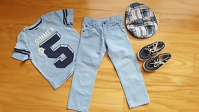 Crazy8 boys baby blue 3pc outfit plaid hat top tee shirt pants size 4 4T