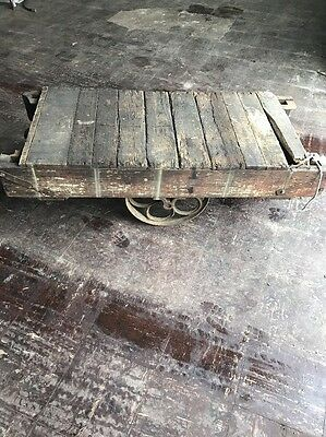 Antique Industrial Rolling Factory Cart w/Cast Iron Wheels, Iron-Edged Wood Top