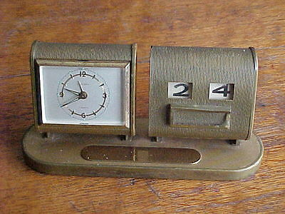 Vintage Art Deco German Alarm Clock And Perpetual Calendar Desktop Set