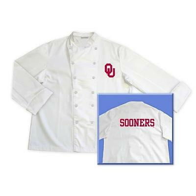 Oklahoma Sooners NCAA Classic Chef Jacket Coat Tailgate BBQ Kitchen Cooking Gift