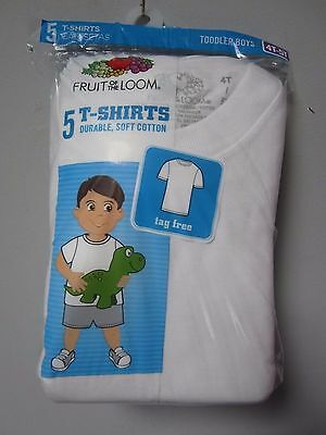 Fruit of the Loom Toddler Boys 5-Pack White Short Sleeves T-Shirts Size 4T/5T