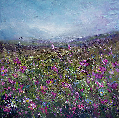 Wild Flower Meadow, Floral / Landscape Art. Original Acrylic Painting On Canvas.