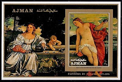 Ajman 1971 Sacred and Profane Love by Titian Paintings Nude Art Imperf m/s MNH