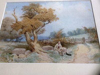 Vintage 19th century landscape watercolour signed by George Hobson (1833-1919)