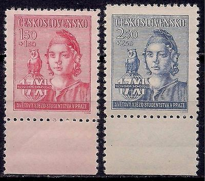 Czechoslovakia 1945 Students congress Education Girl Owl/Birds 2v MNH (1)