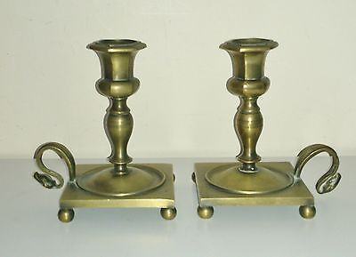 SUPER QUALITY PAIR AUTHENTIC ANTIQUE EARLY TO MID 18th C  BRONZE CANDLESTICKS