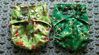 Jungle Roo - Pocket Cloth Diaper - Lot of 2 covers and 4 inserts - VGUC