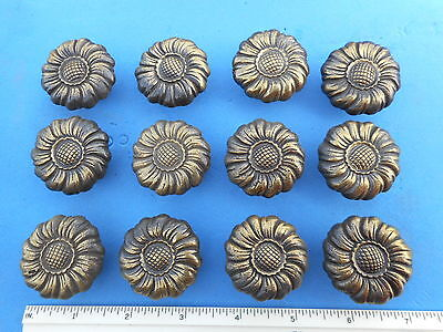 12  Antique Solid Brass Flower Drawer Cabinet Pull Vintage Knob Handle Door
