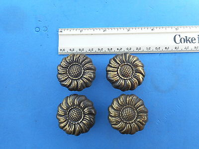 Set of 4 Antique Solid Brass Flower Drawer Cabinet Pull Vintage Knob Handle Door