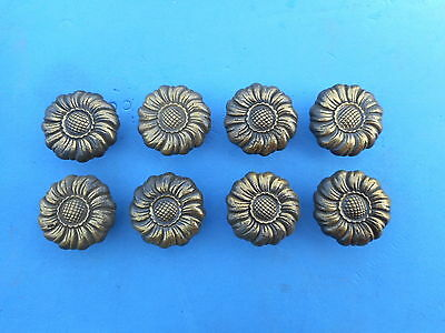 Set of 8 Antique Solid Brass Flower Drawer Cabinet Pull Vintage Knob Handle Door