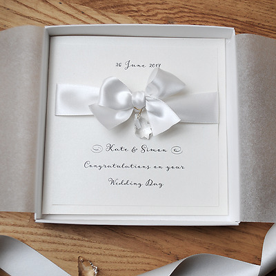 SWAROVSKI Luxury Boxed Wedding / Congratulations Handmade Personalised Card