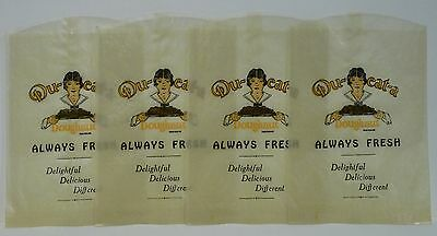 """Lot of 4 Original """"DU-EAT-A Doughnut"""" Wrappers From 1920's - Mint, Unused Stock"""