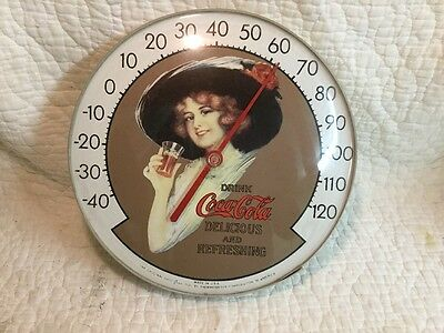 ~ Coca-Cola Vintage Rare Victorian Lady Jumbo Wall Thermometer Tempature Works