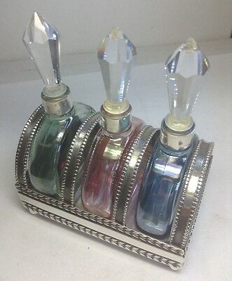 RARE Antique Sterling Silver & Triple Crystal Topped Perfume Bottles & Stand