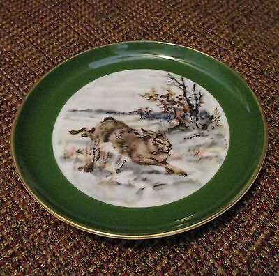 """Home Decor-RABBIT-Snow-Country Animal-W.GERMANY-Porcelain 4"""" PLATE-Hare-Bunny"""