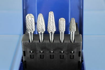 "TEMO 5 pcs Set Double Cut CARBIDE BURR FILE TOOL 1/2"" 3/8"" Head, 1/4 D 2""L Shank"